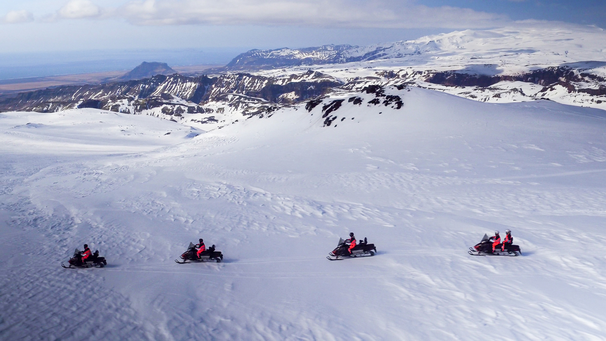 Ride on top of Mýrdalsjökull glacier on a snowmobile with this fantastic tour.