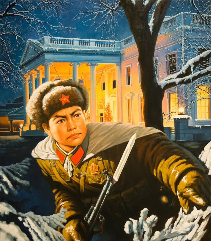 """""""Christmas at the White House"""" a prime example of the work by Icelandic artist, Erró."""