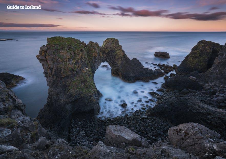 Beautiful coastal formations can be found at Arnarstapi.
