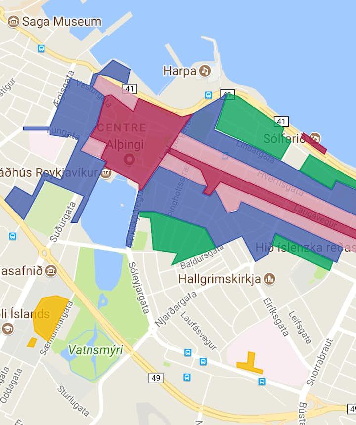冰島停車場收費範圍地圖