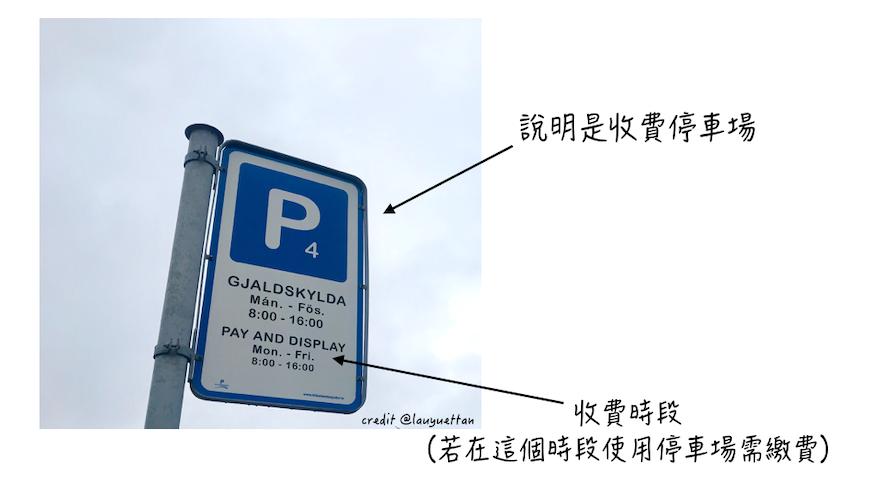 冰島露天收費停車場告示牌