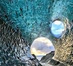 The light hitting a blue ice cave in Vatnajökull glacier.