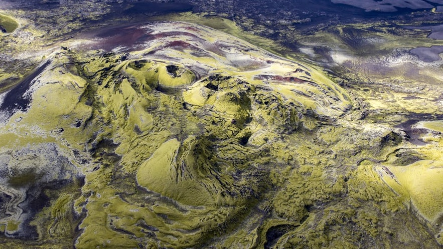 Laki craters seen from a magical flightseeing tour in Iceland