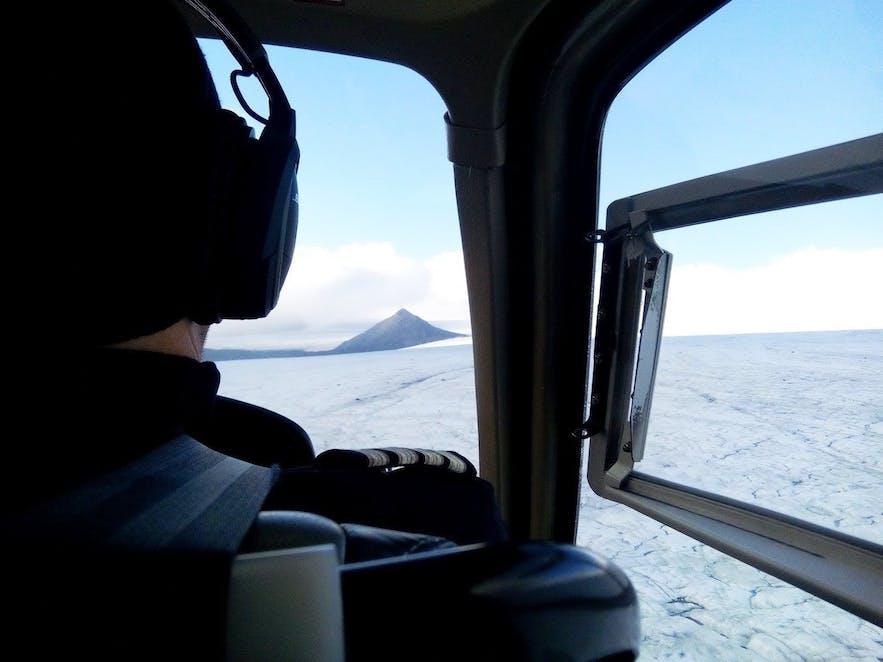 photo de l'intérieur de l'hélicoptère en Islande
