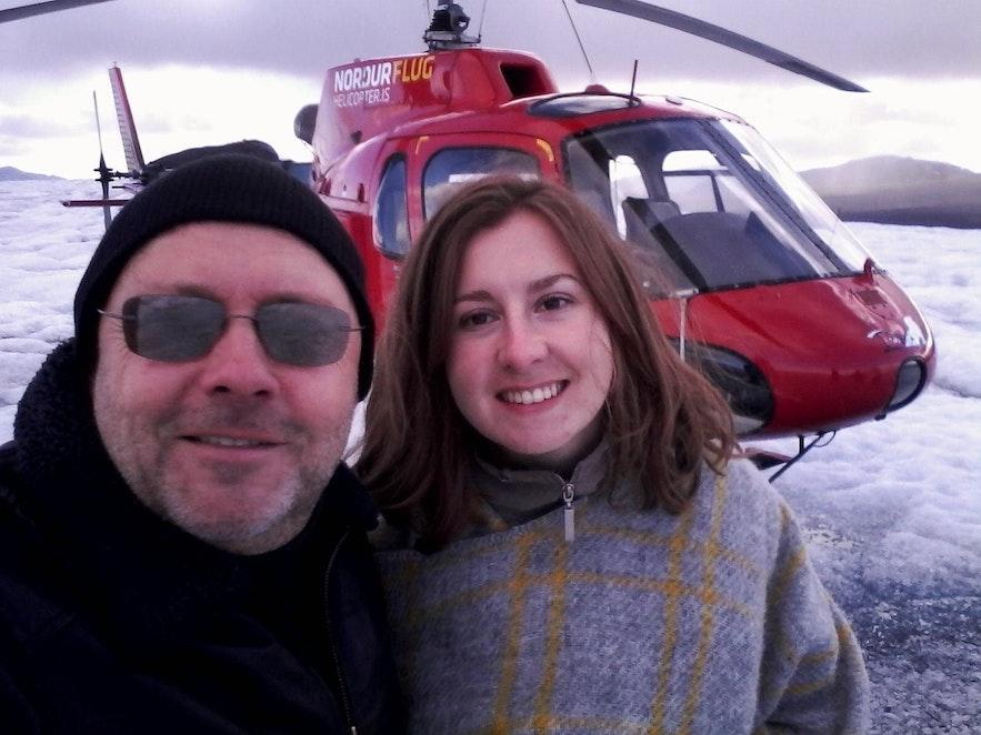 Une photo avec le pilote de l'hélicoptère