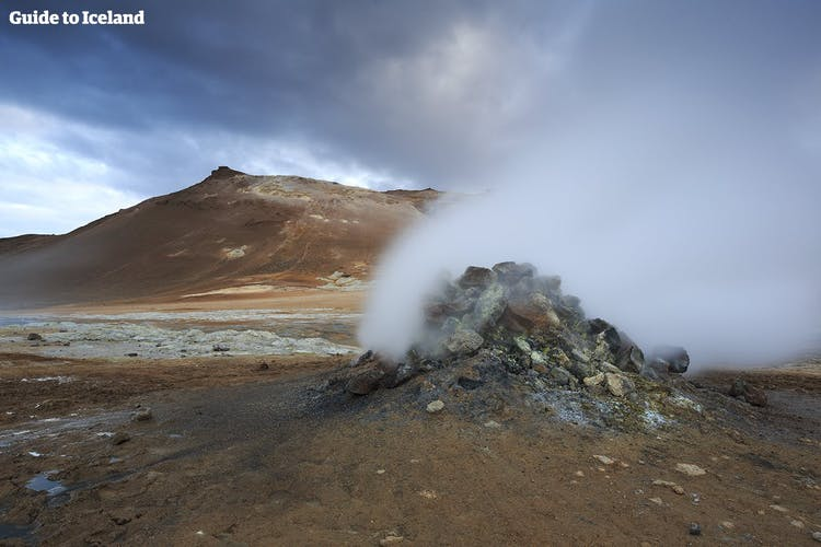 A steaming fumarole at Námaskarð geothermal pass near Lake Mývatn.