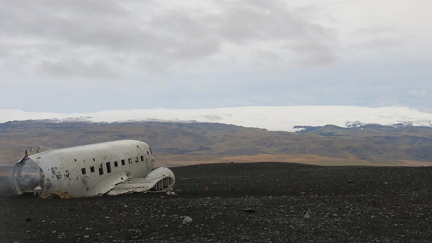 Solheimasandur boasts amazing views of the glaciers of South Iceland.
