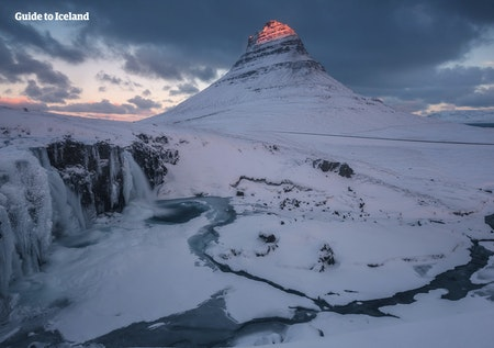 Kirkjufell Mountain in winter.