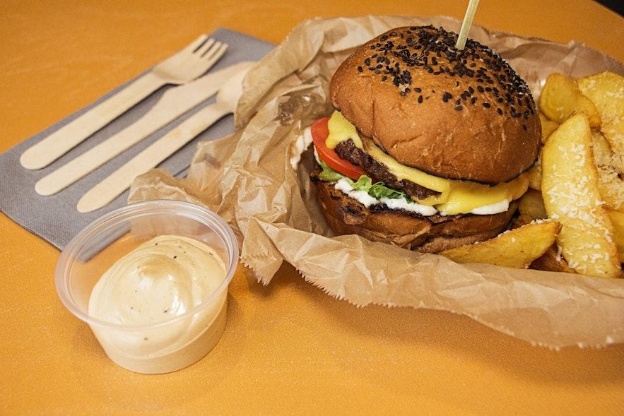 Juicy street food burger from Geiri Smart in Reykjavík