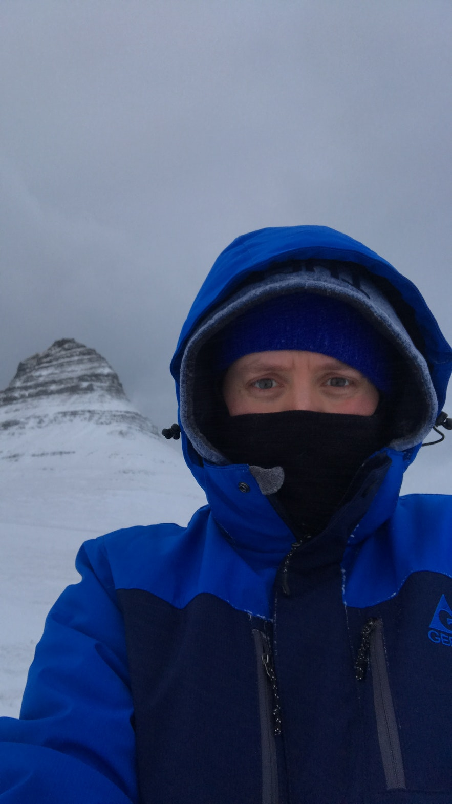 I am wearing 4 layers on my head alone. Kirkjufell in the background