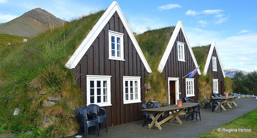 The exterior of Icelandic turf houses.