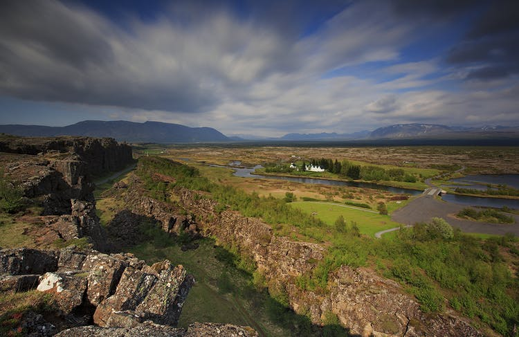 The famous craggy ridge at Þingvellir National Park.
