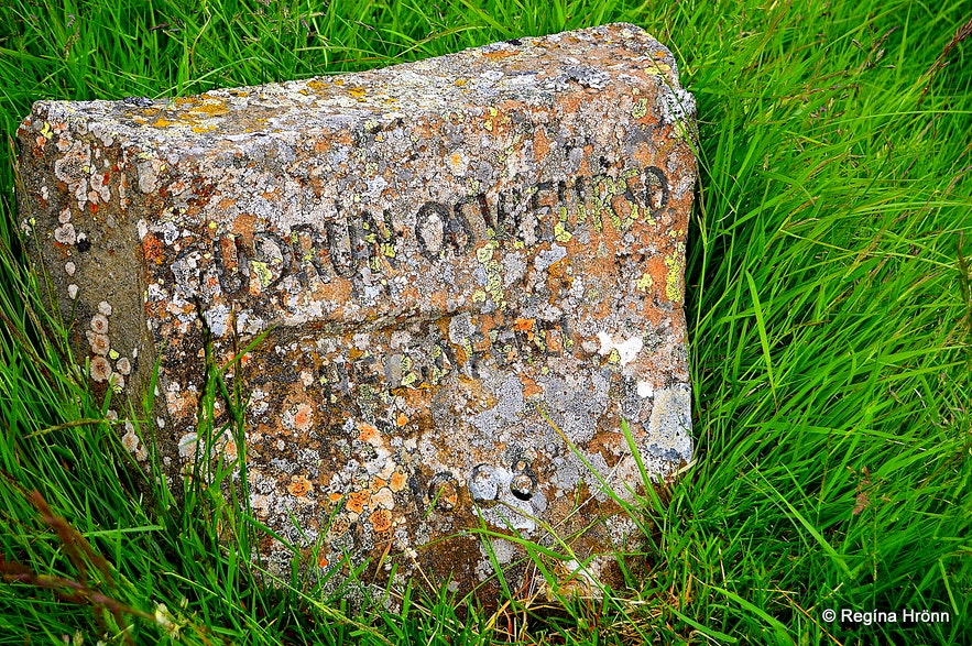 The memorial stone for Guðrún at Helgafell Snæfellsnes