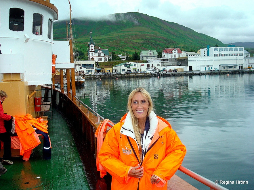 Regína on a Whale Watching tour with North Sailing in Skjálfandi bay