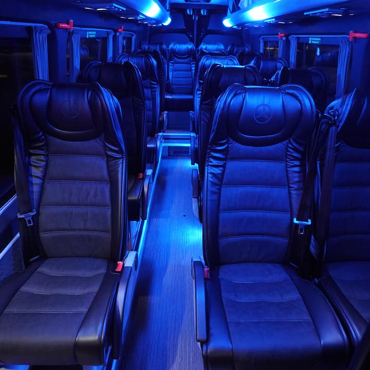 The inside of a luxury minibus
