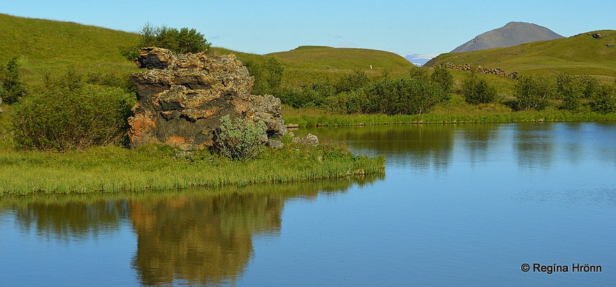 Lava pillars by lake Mývatn in northeast Iceland