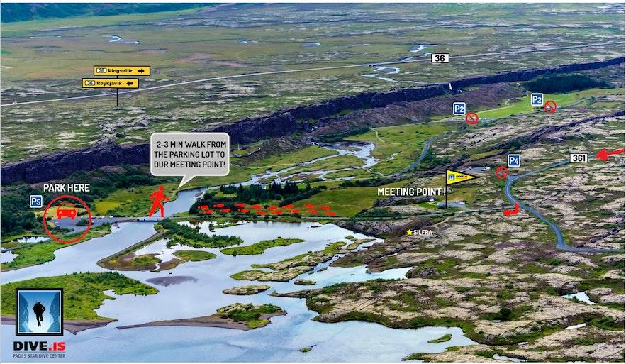 冰島浮潛集合地點地圖