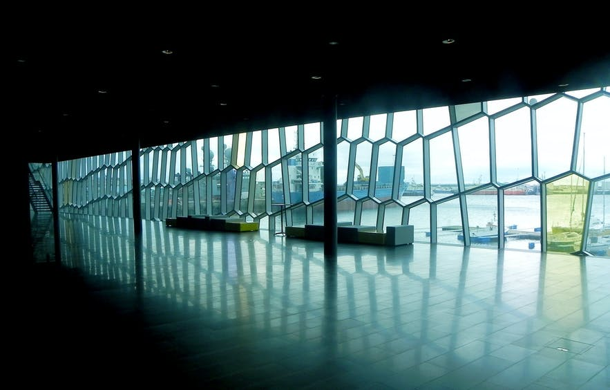 The interior of Harpa Concert Hall and Conference Centre.
