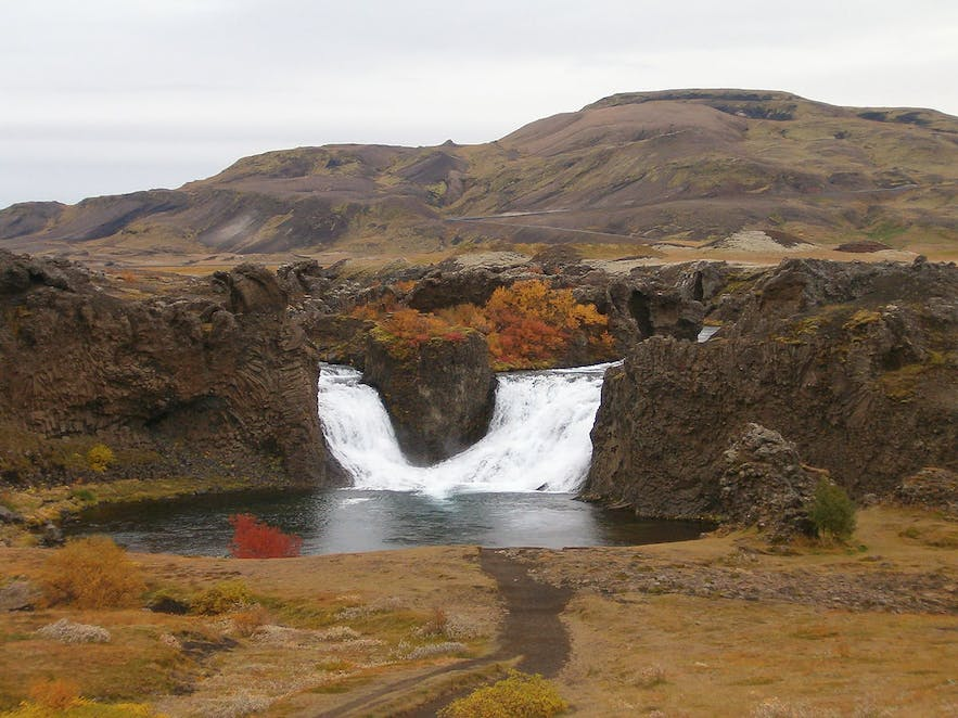Hjalparfoss is one of the many waterfalls of south Iceland.