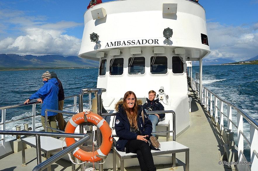 Regína on a whale watching tour in Akureyri