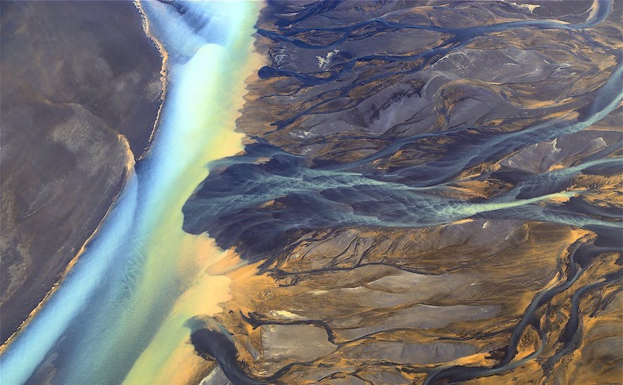 An aerial view over Iceland's stunning and eclectic landscape.