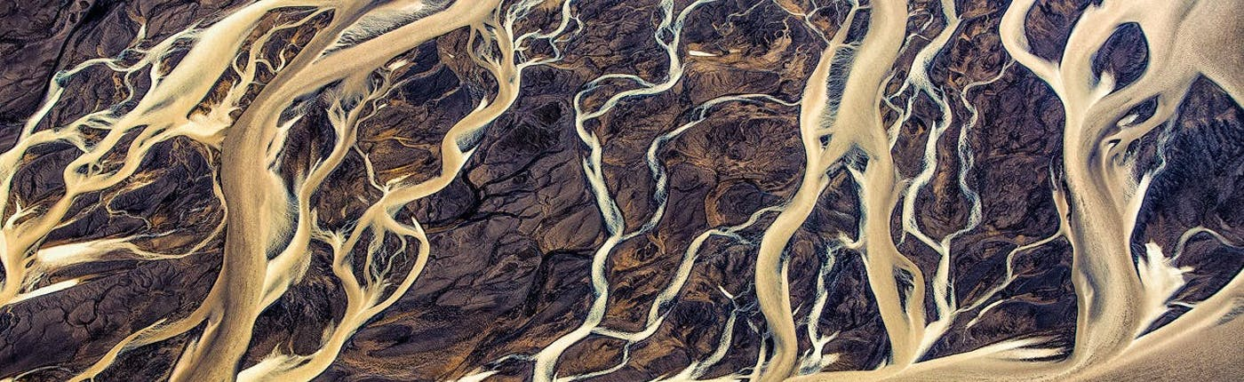 An aerial view over some of Iceland's many rivers and tributaries.