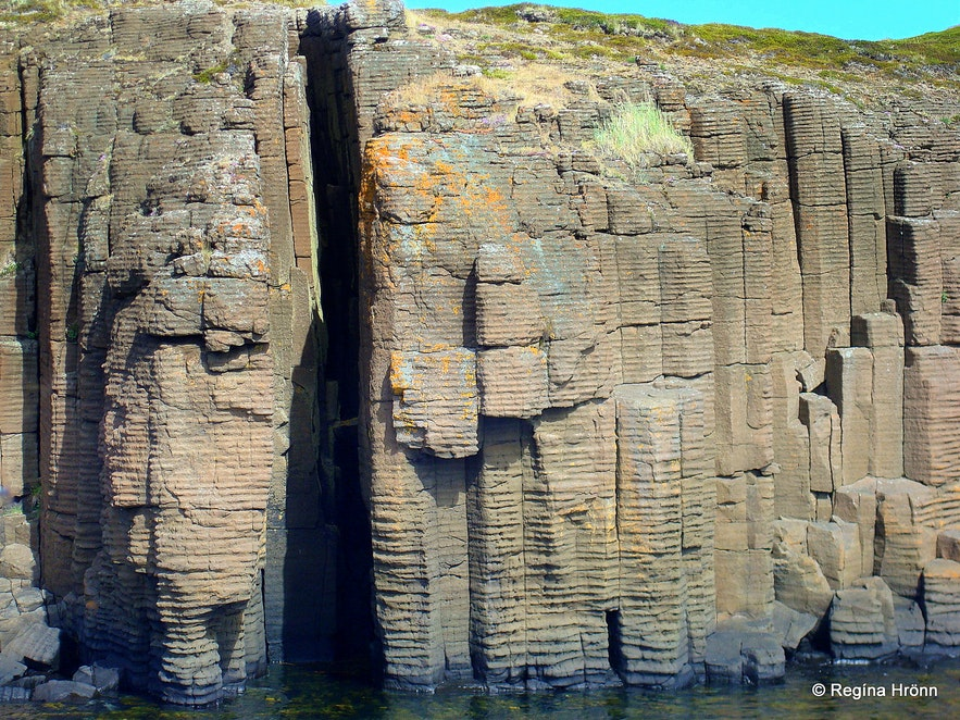 Basalt columns in Breiðafjörður bay, west Iceland