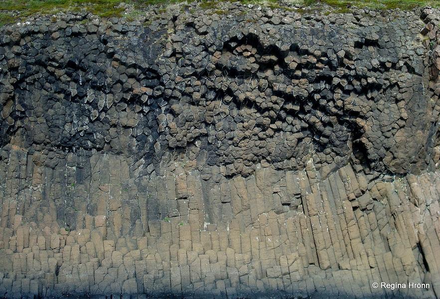 Basalt columns in the Breiðafjarðareyjar islands