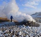 A steaming fumarole in Námaskarð geothermal area near Lake Mývatn.