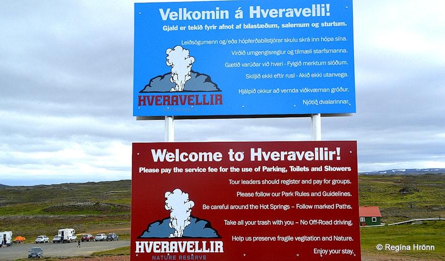 Information signs at Hveravellir