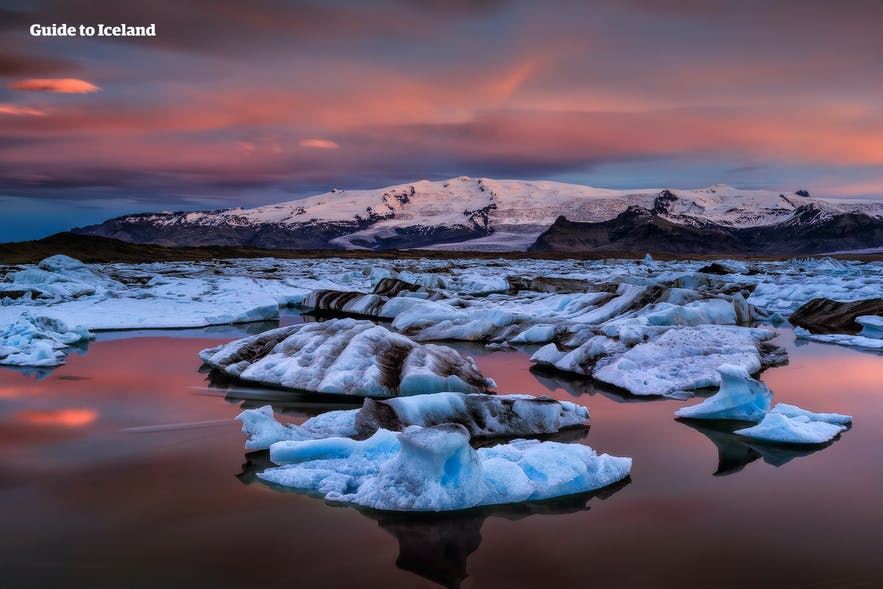 Breiðamerkurjökull can be seen being the glacier lagoon in south Iceland.