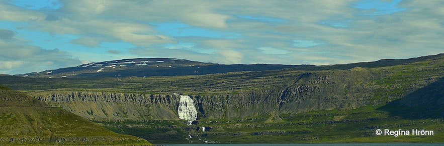 Dynjani waterfall in the Westfjords as seen from afar