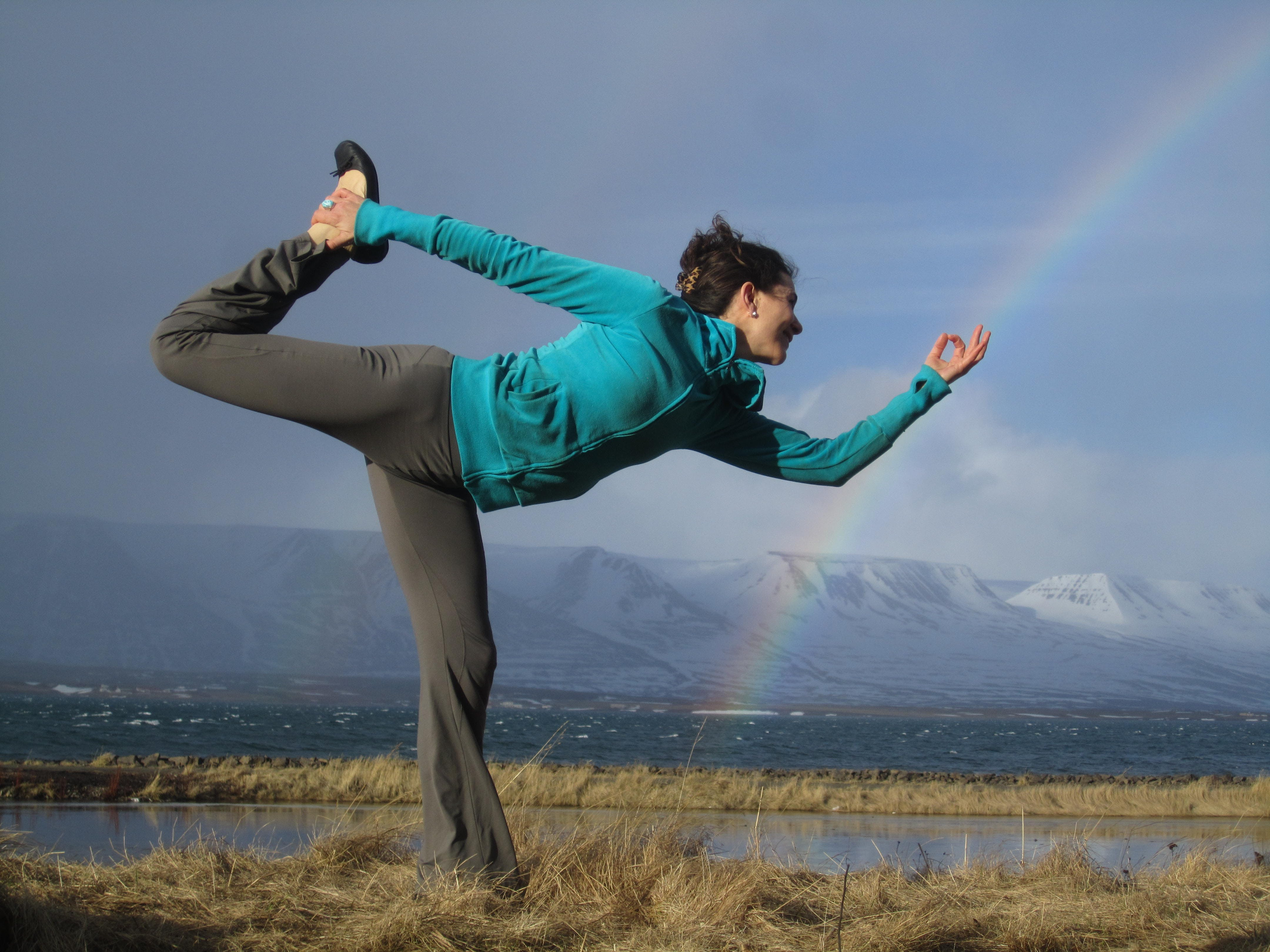 Doing yoga in North Iceland.
