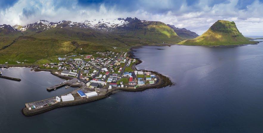 An aerial shot over Grundarfjörður.