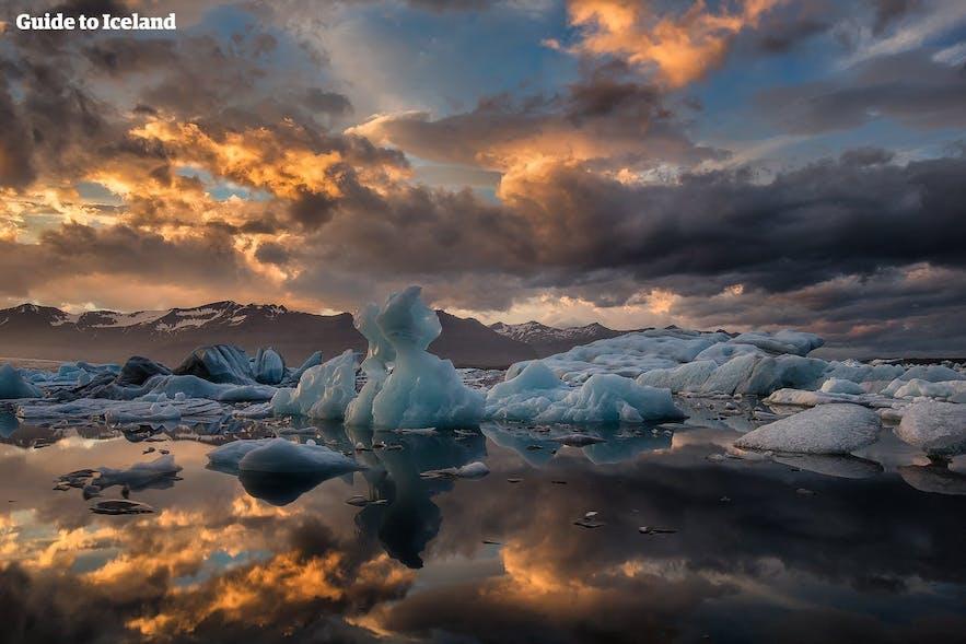 Jökulsárlón glacier lagoon is found on Iceland's South Coast.