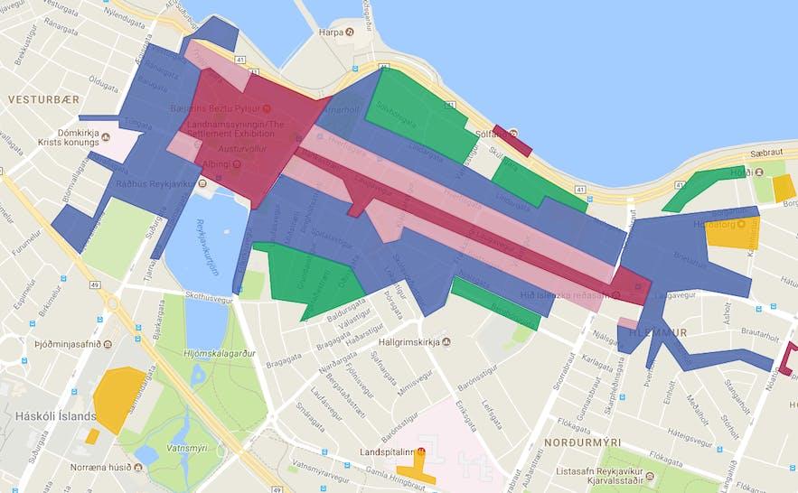 Parking map of downtown Reykjavík.