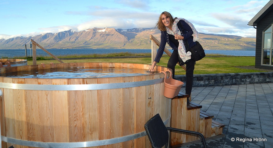 Regína at the Bjórböðin beer spa in North-Iceland