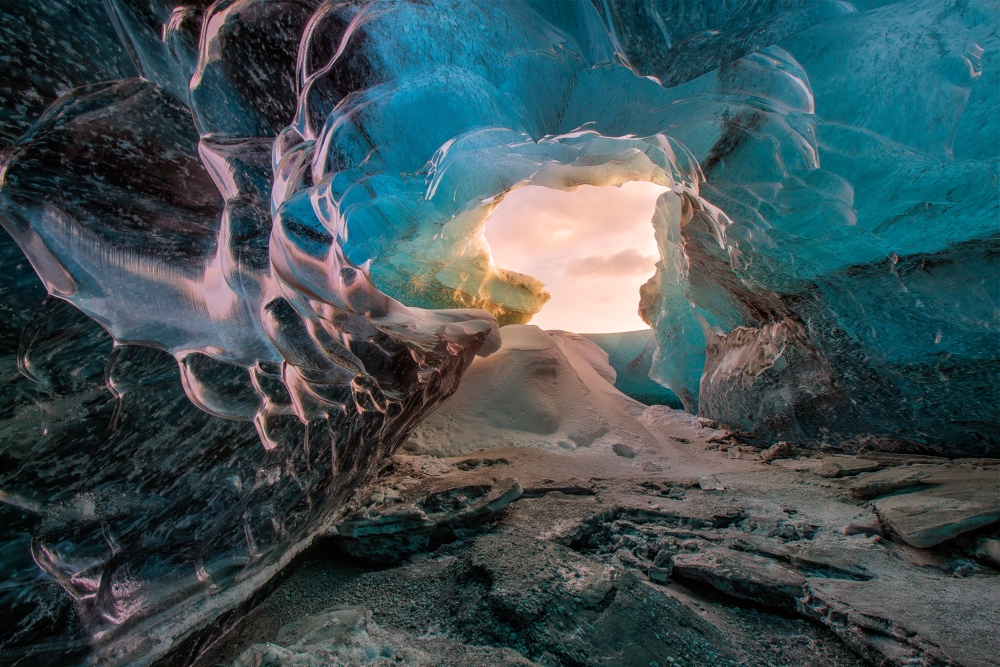 Glacial ice caves are formed by melt water tunneling through the glacier during the summer months.
