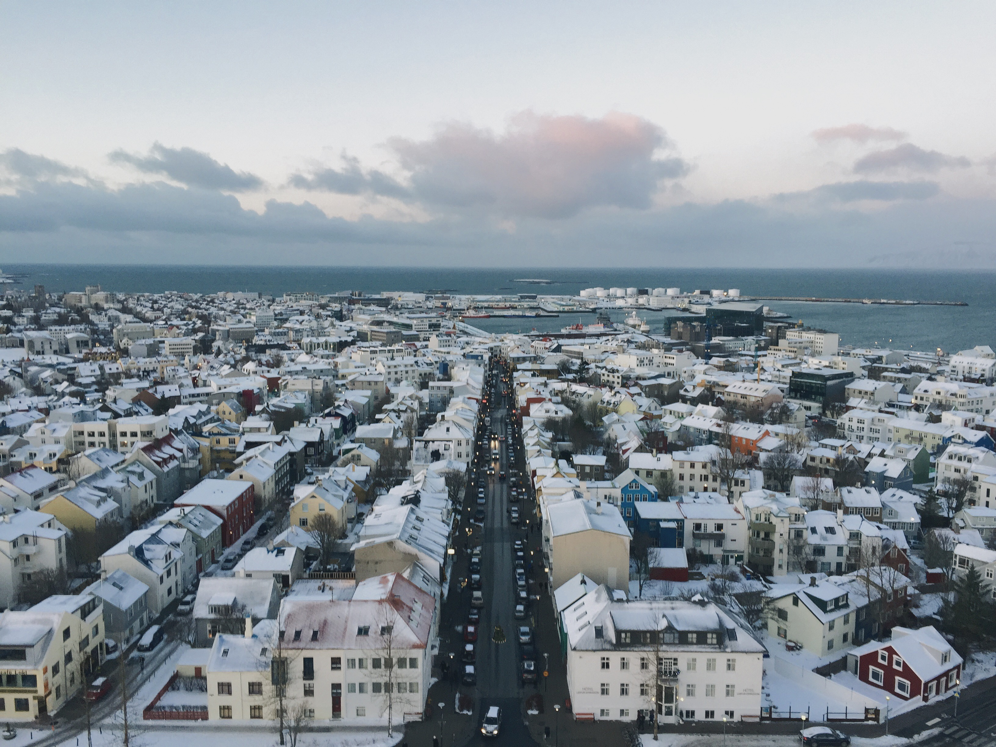 The colourful houses of downtown Reykjavík can be seen from the top of its most iconic landmark, Hallgrímskirkja.