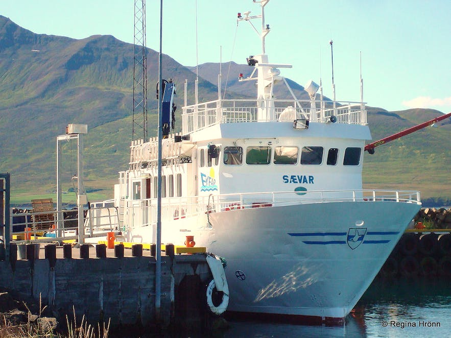 The ferry Sævar that bring people to Hrísey island