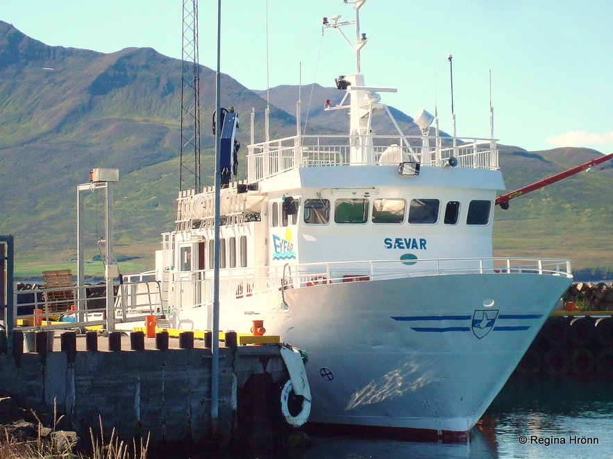 The ferry Sævar that brings people to Hrísey island