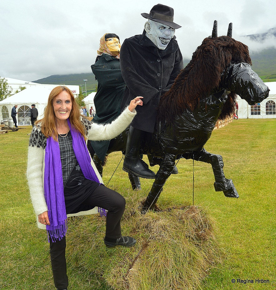 Regína aby Guðrún and the Deacon of Dark river as depicted at Hrafnagil