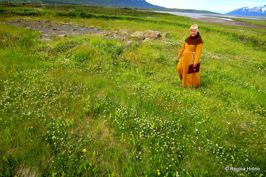 Woman dressed in medieval costume at Gásir in north Iceland
