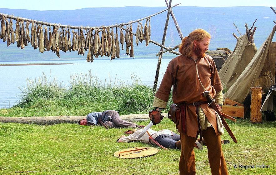 Man dressed in medieval costume at Gásir in north Iceland