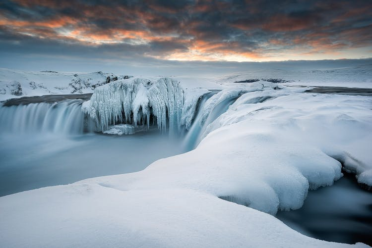 The ice formations covering Goðafoss only add to the wonder of this impressive attraction.
