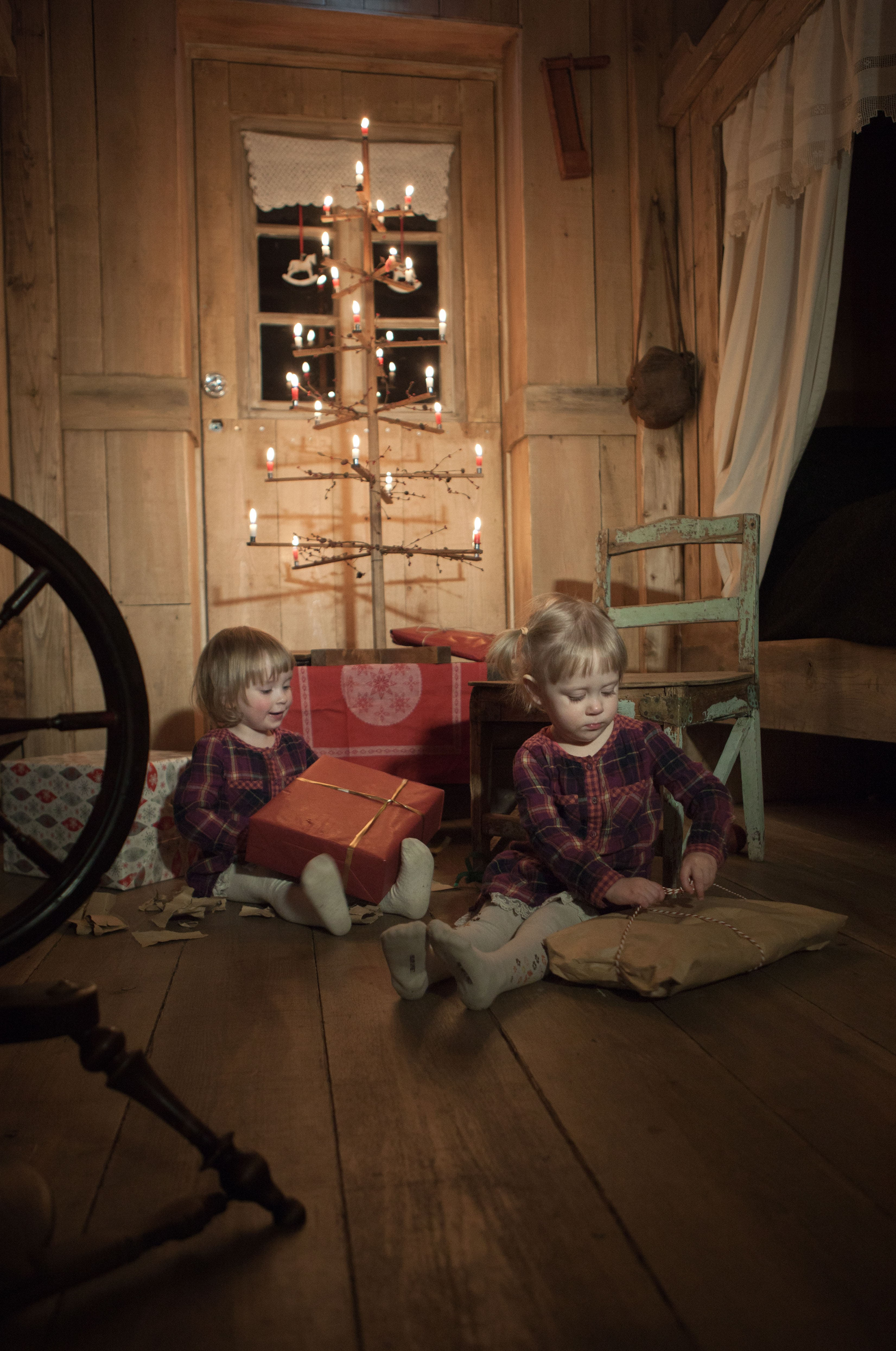 Two little girls open presents by an old styled 'hanger tree', as were common in Iceland in the 19th and early 20th century.