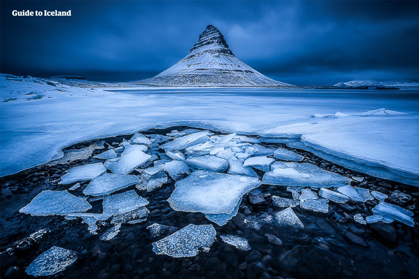 A frosty view of the mountain Kirkjufell on the Snæfellsnes Peninsula.
