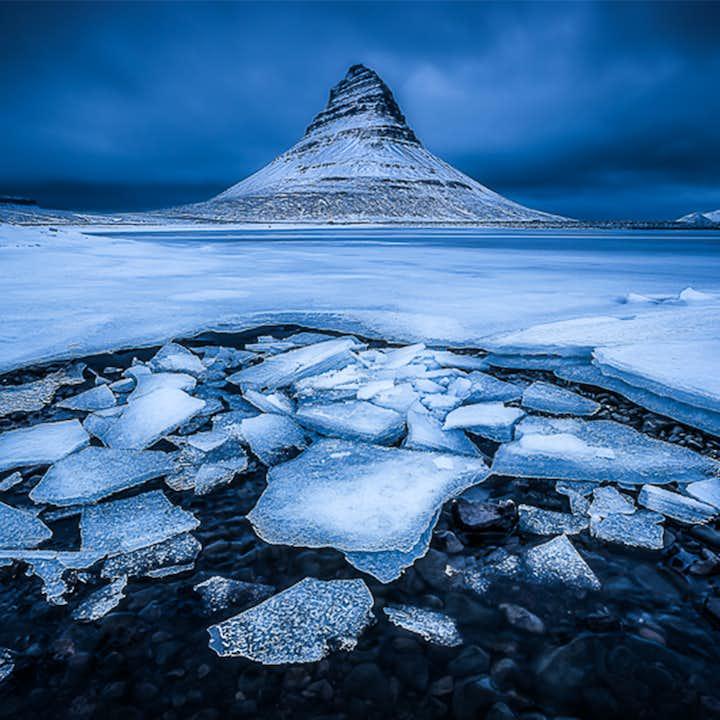 A frosty view of the mountain Kirkjufell on the Snæfellsnes Peninsula.
