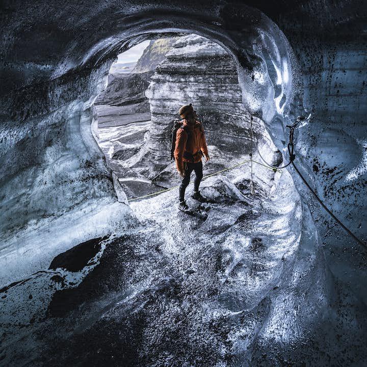 Katla ice cave is located inside Mýrdalsjökull glacier, Iceland's fourth largest ice cap.