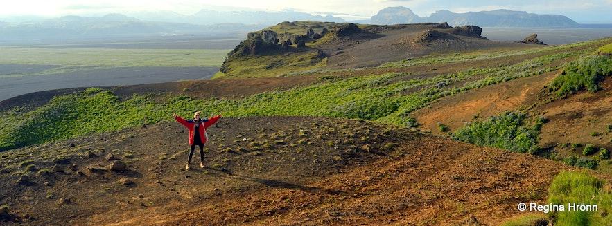 Regína hiking on Hjörleifshöfði cape South-Iceland